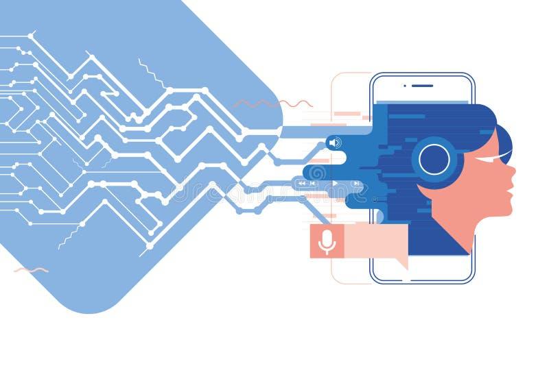Illustration exprimez l'assistant, l'APP mobile, d'assistant personnel et de concept de reconnaissance vocale vecteur de technol  illustration libre de droits