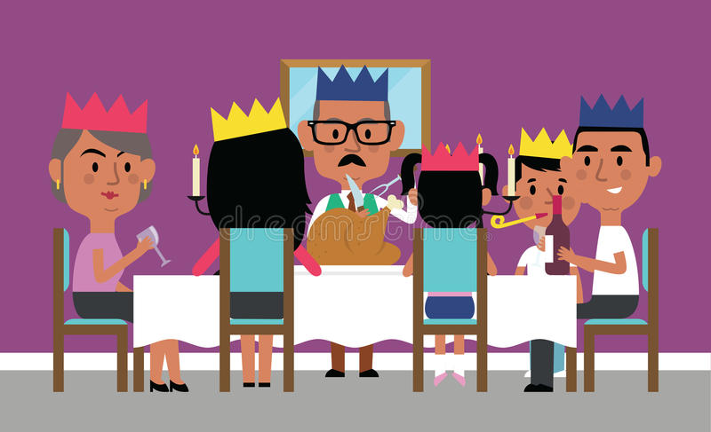Illustration Of Extended Family Having Holiday Meal At Home royalty free illustration