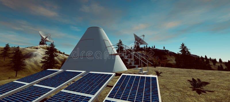 Illustration extrêmement détaillée et réaliste de la haute résolution 3d des panneaux solaires et un habitat avec les antennes pa illustration libre de droits