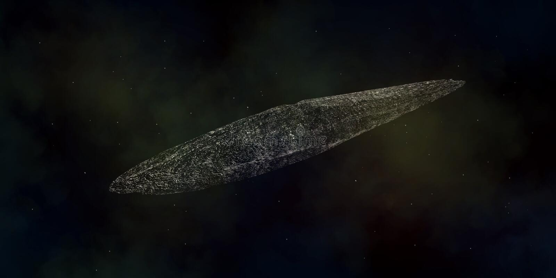 Illustration extrêmement détaillée et réaliste de la haute résolution 3d d'un asteroïde interstellaire illustration de vecteur