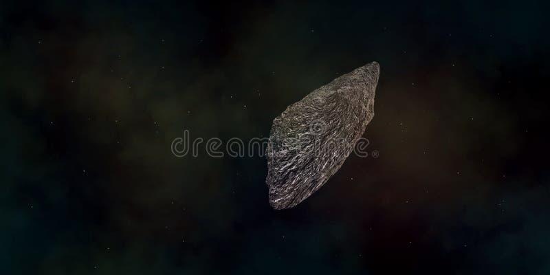 Illustration extrêmement détaillée et réaliste de la haute résolution 3d d'un asteroïde interstellaire illustration stock