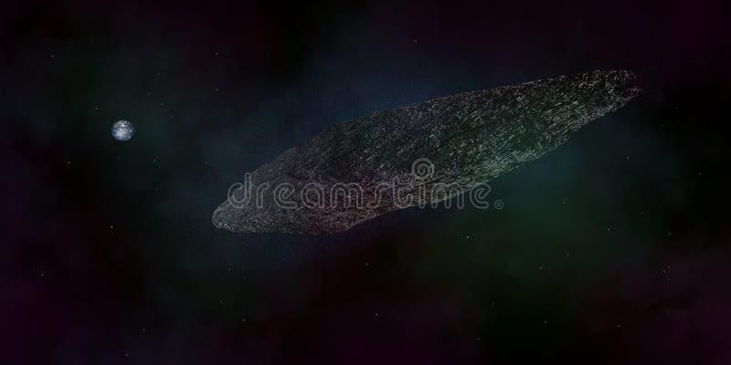 Illustration extrêmement détaillée et réaliste de la haute résolution 3d d'un asteroïde interstellaire illustration libre de droits