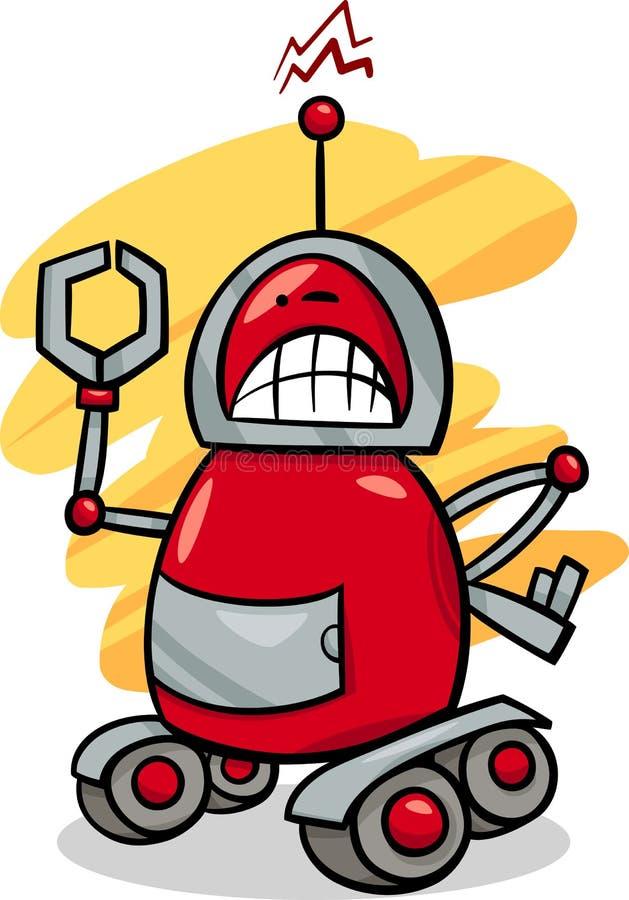 Illustration fâchée de bande dessinée de robot illustration stock