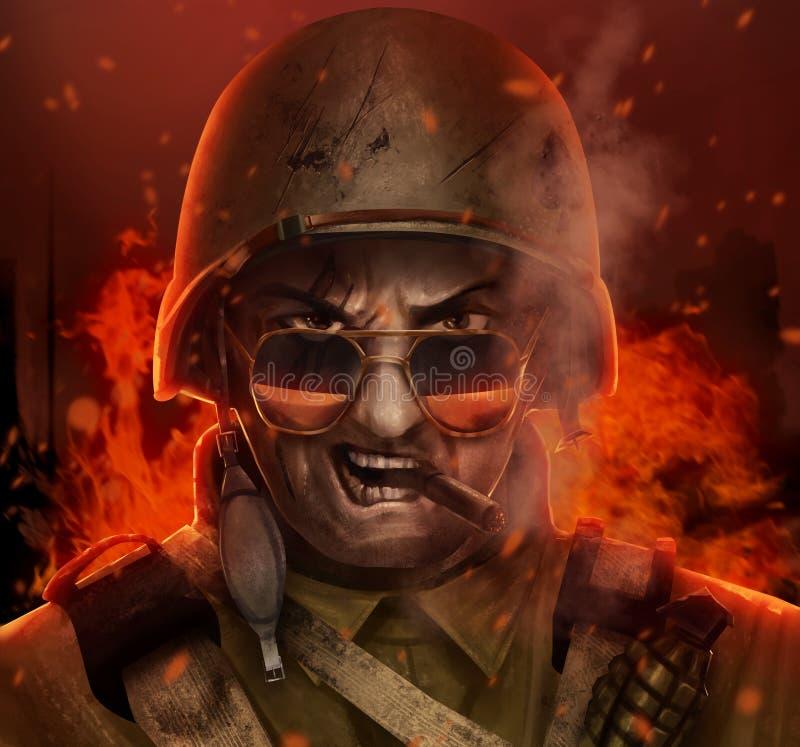 Illustration fâchée de visage de guerre de soldat américain illustration stock