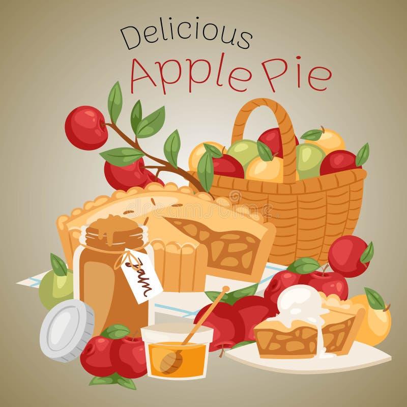 Illustration för äppelpajbanervektor Apple korg med kruset av honung och flaskan av driftstopp Läcker kaka med glass på royaltyfri illustrationer
