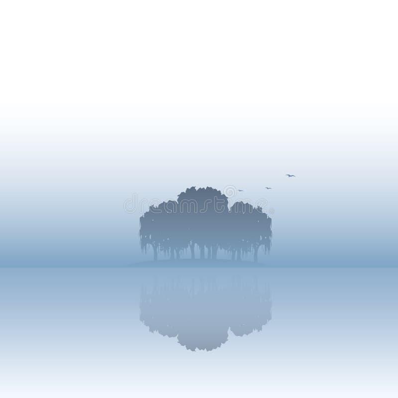 Illustration för ölandskapvektor med dimma- eller mistatmosfär Stillhet fridfullt stillsamt naturlandskap royaltyfri illustrationer