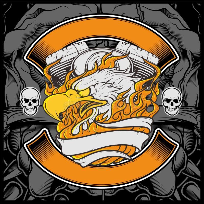 Illustration för örn för motorcykelEagle American Logo Emblem Graphic design - vektor stock illustrationer