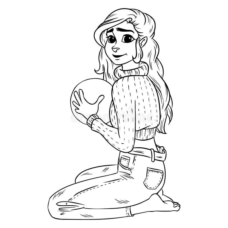 Illustration för översikt för vektor för begrepp för tecknad film för flickainnehavboll royaltyfri illustrationer