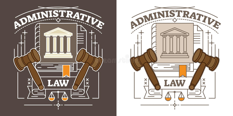 Illustration för administrativ lag för vektor Visualization med den hammare-, domstolsbyggnad- och rättvisaskalan Myndighets- och royaltyfri illustrationer