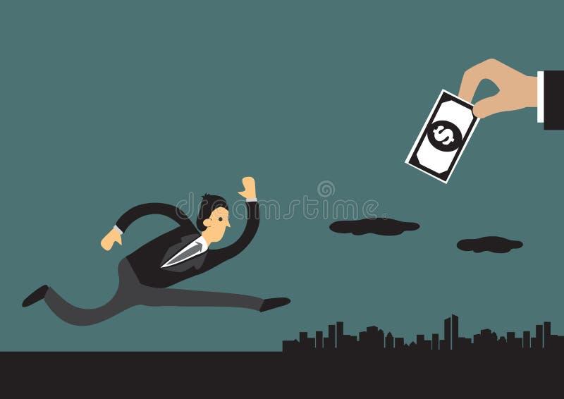 Illustration för affärsmanChasing Money Concept vektor royaltyfri illustrationer