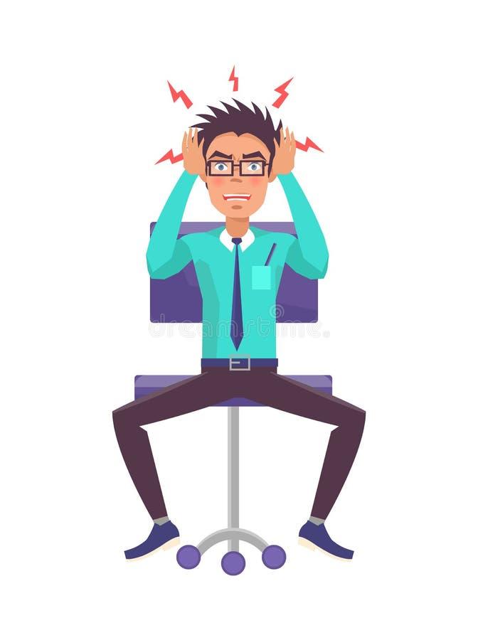 Illustration för affärsmanHolds Head Angrily vektor royaltyfri illustrationer