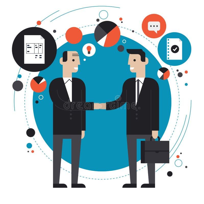 Illustration för affärspartnerskaplägenhet stock illustrationer