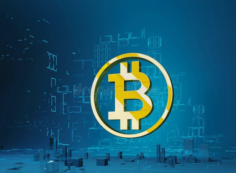 Illustration för affärsstadsbitcoin 3D av guld- bokstav B för bitcoinsymbol i cirkeln på bakgrunden av programmet royaltyfri illustrationer
