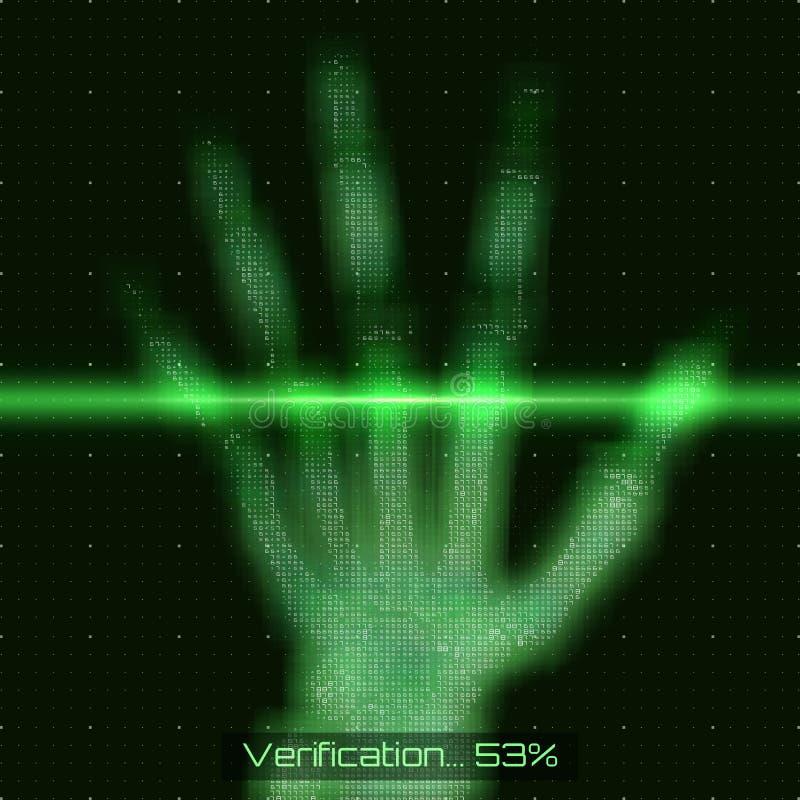 Illustration för analys för tomography för hand för vektorgräsplanabstrakt begrepp Gömma i handflatan röntgenstrålebildläsningen  vektor illustrationer
