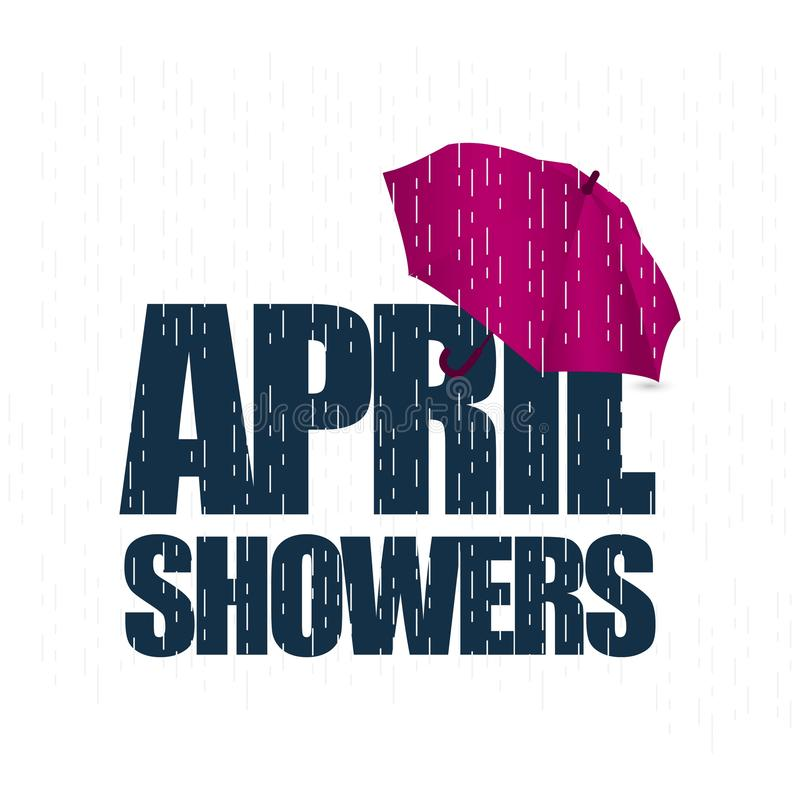 Illustration för April Showers May Flowers Vector malldesign stock illustrationer