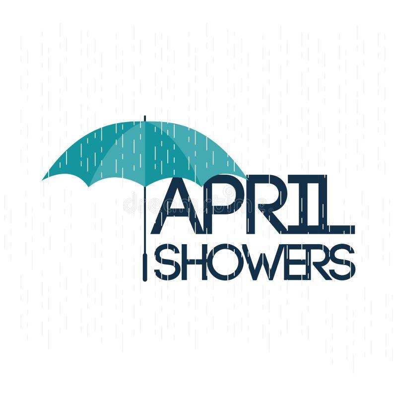 Illustration för April Showers May Flowers Vector malldesign stock illustrationer