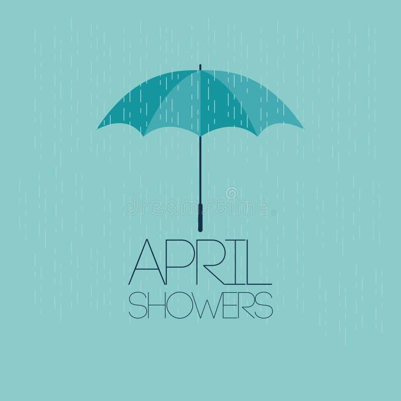 Illustration för April Showers May Flowers Vector malldesign royaltyfri illustrationer