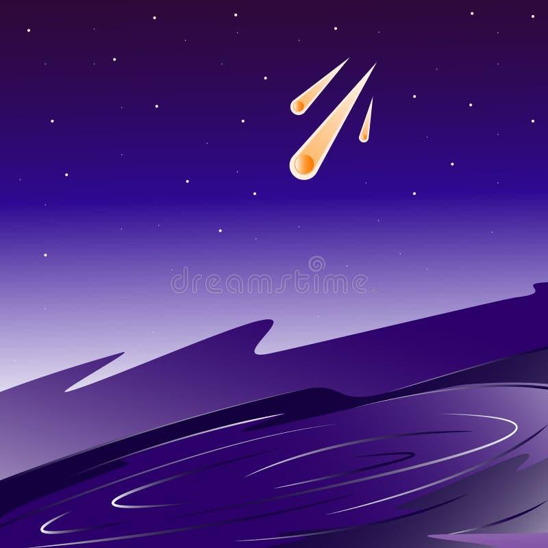 Illustration för asteroider för krater för stjärnagalaxutrymme stock illustrationer