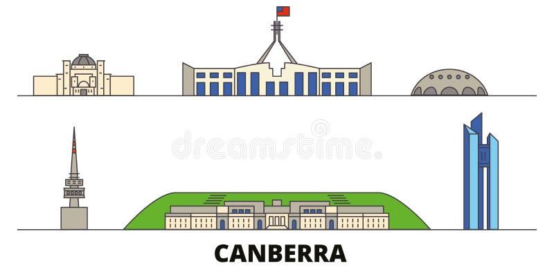 Illustration för Australien Canberra plan gränsmärkevektor Australien Canberra linje stad med berömda loppsikt, horisont vektor illustrationer