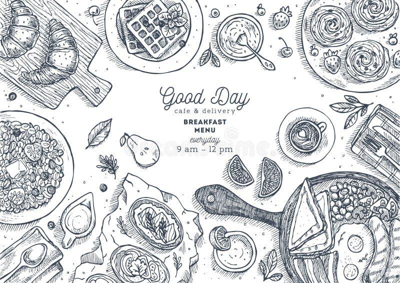Illustration för bästa sikt för frukost Olik matbakgrund Inristad stilillustration Hjältebild också vektor för coreldrawillustrat royaltyfri illustrationer