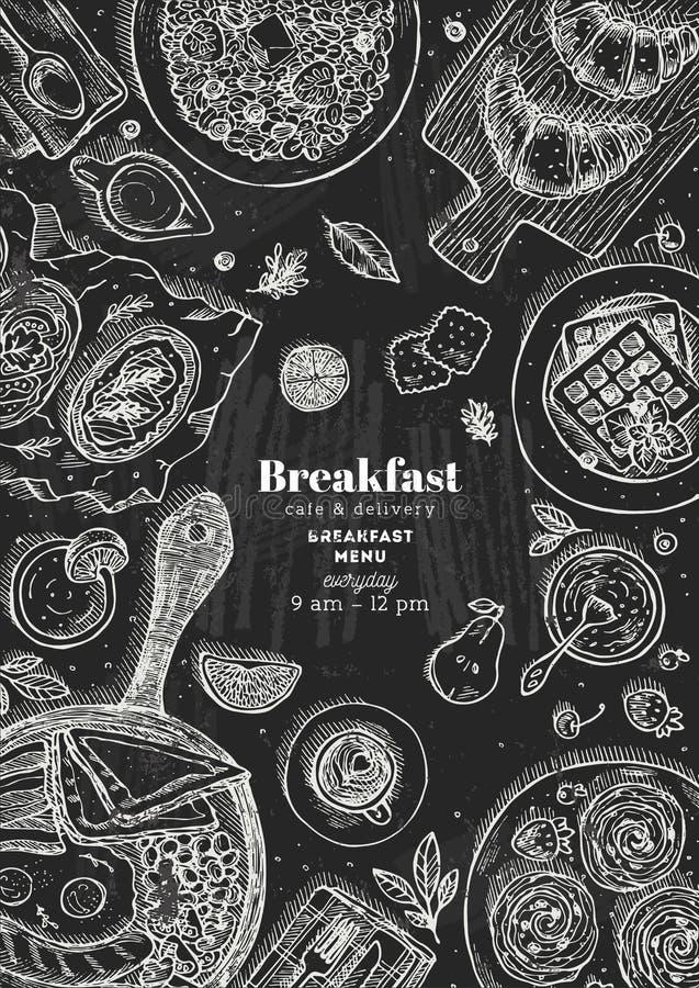 Illustration för bästa sikt för frukost för svart tavla vertikal Olik matbakgrund Inristad stilillustration också vektor för core vektor illustrationer