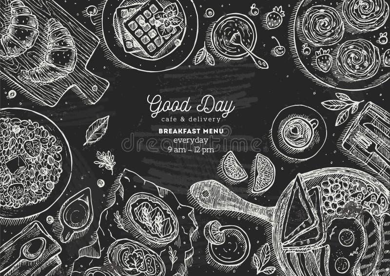 Illustration för bästa sikt för svart tavlafrukost Olik matbakgrund Inristad stilillustration Hjältebild också vektor för coreldr royaltyfri illustrationer