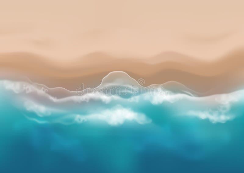 Illustration för bästa sikt för vektor härlig realistisk av den sandiga sommarstranden - mall för din affisch av banret royaltyfria bilder