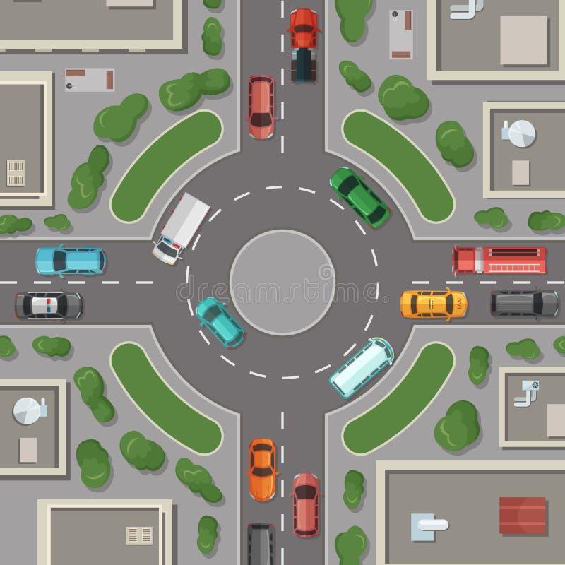 Illustration för bästa sikt för för för vektorstadsbyggnader, vägar och bilar royaltyfri illustrationer