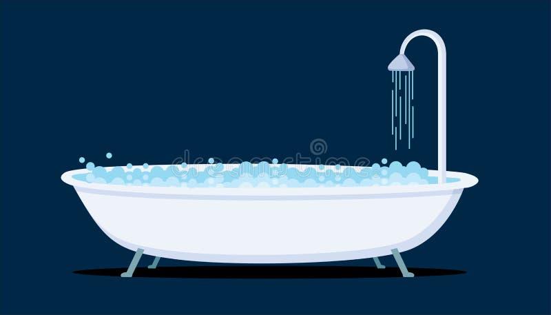 Illustration för badkarsymbolsvektor royaltyfri illustrationer