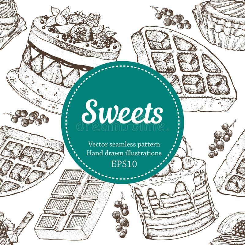 Illustration för bageri för Vectorhand teckningsefterrätt Söt mat skissar den sömlösa modellen arkivbilder
