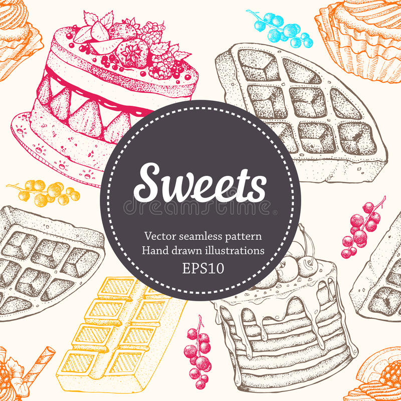 Illustration för bageri för Vectorhand teckningsefterrätt Söt mat skissar den sömlösa modellen arkivfoto