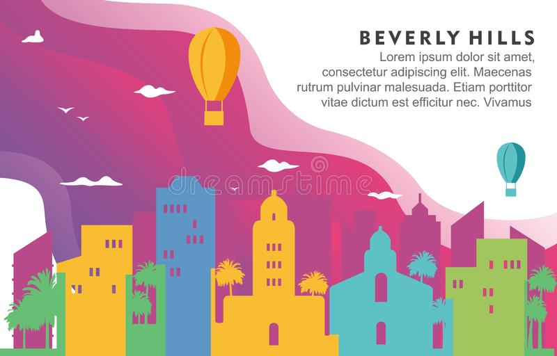 Illustration för bakgrund för Beverly Hills Washington City Building Cityscapehorisont dynamisk royaltyfri illustrationer