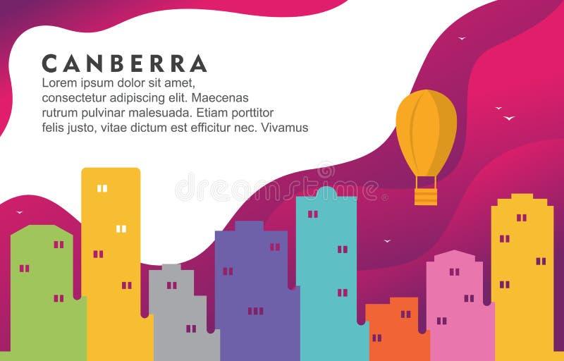 Illustration för bakgrund för horisont för Cityscape för Canberra Australien stadsbyggnad dynamisk vektor illustrationer