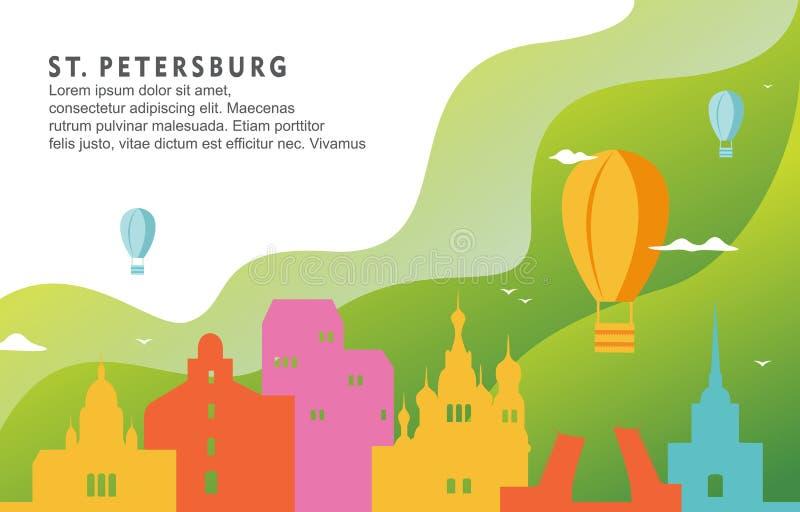 Illustration för bakgrund för horisont för Cityscape för St Petersburg Florida stadsbyggnad dynamisk vektor illustrationer