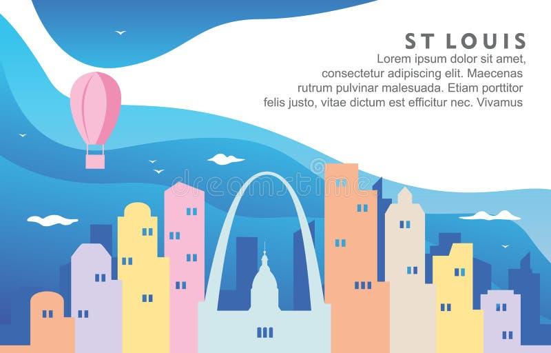 Illustration för bakgrund för horisont för St Louis Missouri City Building Cityscape dynamisk vektor illustrationer
