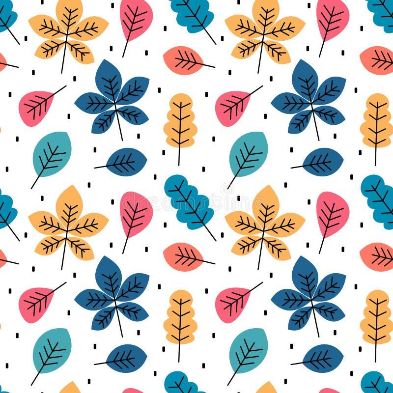 Illustration för bakgrund för modell för vektor för gullig färgrik höstnedgång sömlös med sidor royaltyfri illustrationer