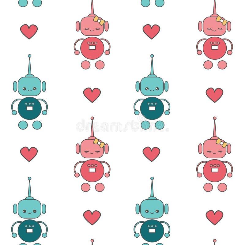 Illustration för bakgrund för modell för vektor för gulliga älskvärda tecknad filmrobotar förälskad sömlös vektor illustrationer
