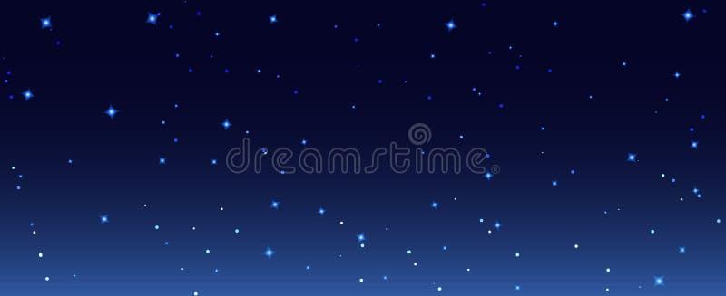 Illustration för bakgrund för nattstjärnahimmel Tapet för himmel för mörk natt för galax stjärnklar royaltyfri illustrationer
