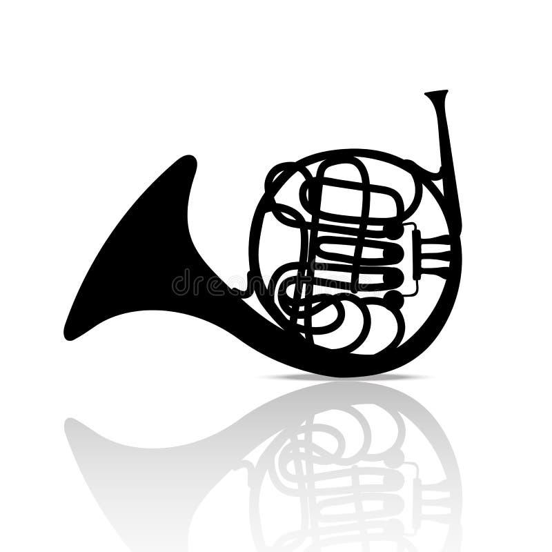 Illustration för bakgrund för valthornmusikinstrument svartvit royaltyfri illustrationer