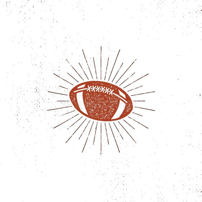 Illustration för bal för amerikansk fotboll för vektor, symbol retro design USA-sportpictogram med sunbursts som isoleras på vit royaltyfri illustrationer