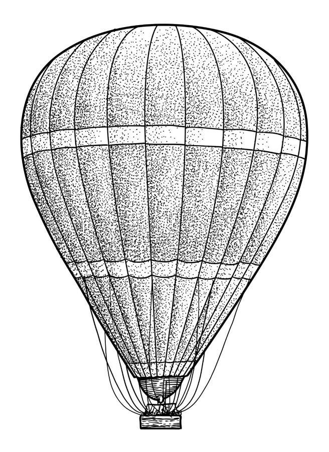 Illustration för ballong för varm luft, teckning, gravyr, färgpulver, linje konst, vektor royaltyfri illustrationer