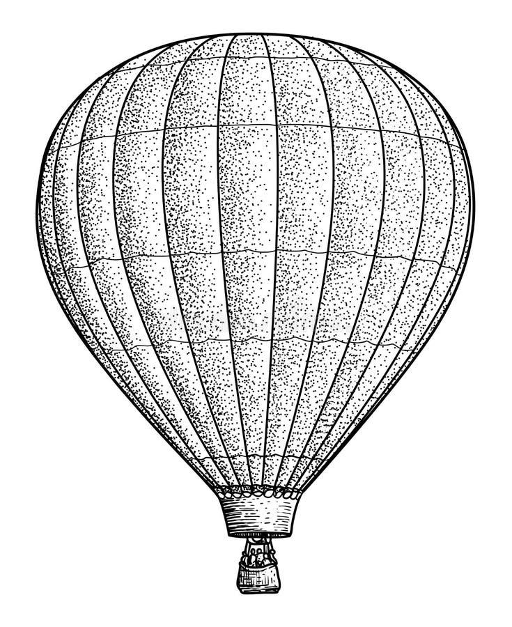 Illustration för ballong för varm luft, teckning, gravyr, färgpulver, linje konst, vektor stock illustrationer