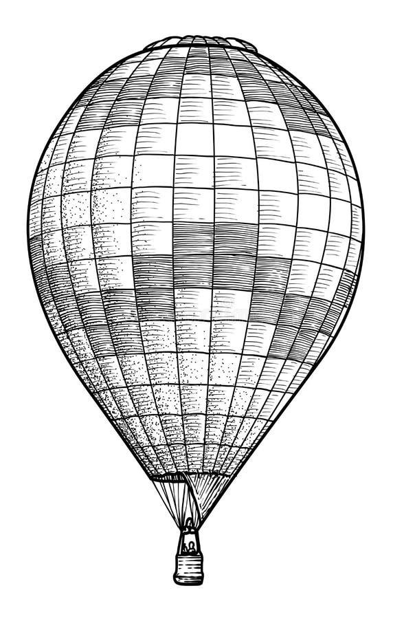 Illustration för ballong för varm luft, teckning, gravyr, färgpulver, linje konst, vektor vektor illustrationer