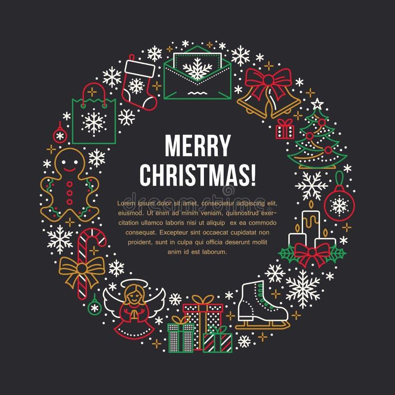 Illustration för baner för nytt år för jul Vektorlinje symbol av trädet för jul för vinterferier, gåva, bokstav till Santa Claus stock illustrationer