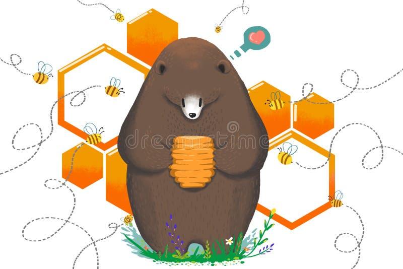 Illustration för barn: Äta vid menbin eller att inte äta Björnen får den söta Honey Hive och tvekar stock illustrationer
