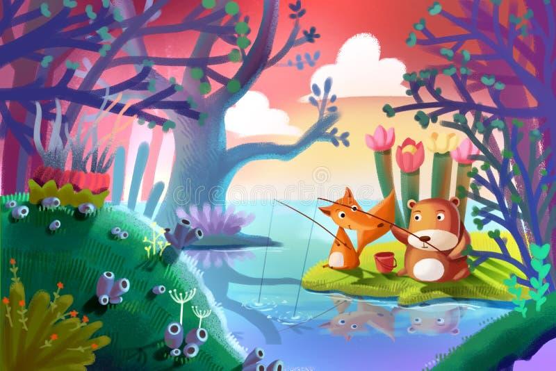 Illustration för barn: Bra vänner lurar lite, och den lilla björnen fiskar tillsammans i skogen vektor illustrationer