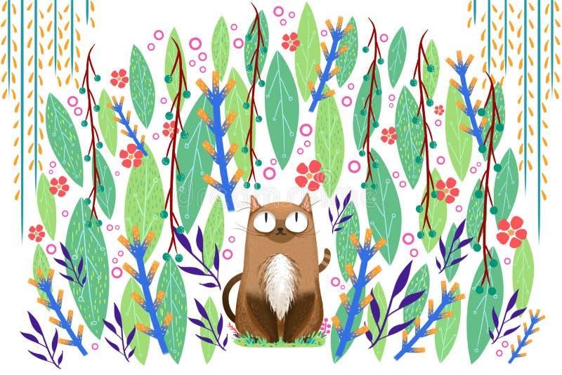 Illustration för barn: Cat Has nytt bekvämt tycka om, när De är gömt i naturen stock illustrationer