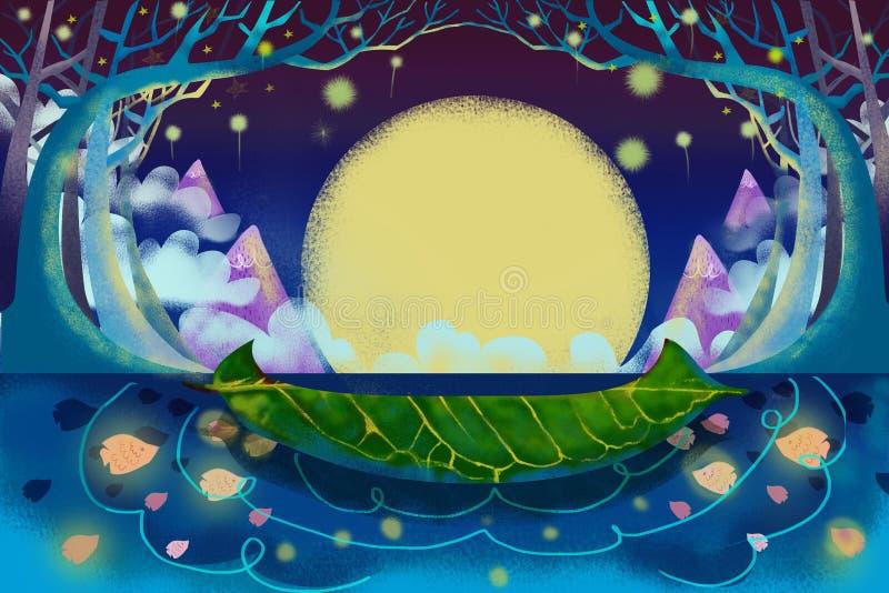 Illustration för barn: Den mystiska floden och fartyget royaltyfri illustrationer