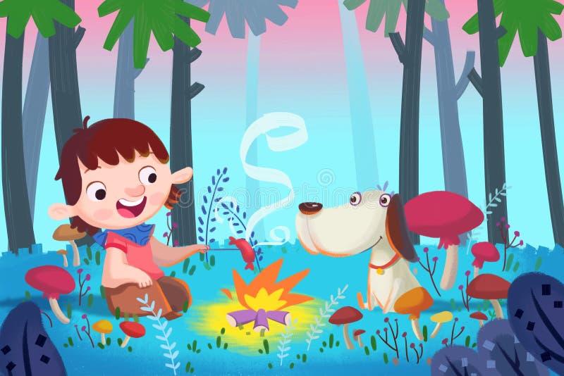 Illustration för barn: Forest Barbecue med bästa vän vektor illustrationer