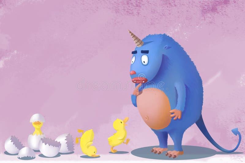 Illustration för barn: Men jag är inte din mamma, vad är mig som går att göra med dig, den lilla gula anden royaltyfri illustrationer
